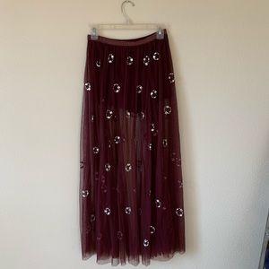 Free People XS Rhinestone Maxi Skirt